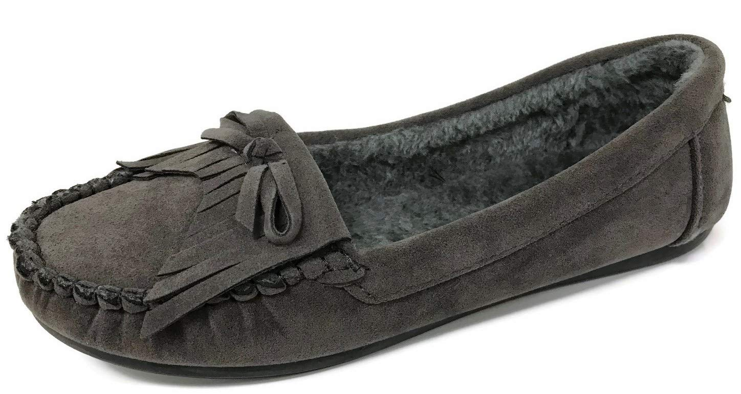 Hello Cozi Runs Small, Order 1 Size Bigger - Cozy Moccasin Faux Suede Fur Lined Slippers Fringe Grey 7.5 M US