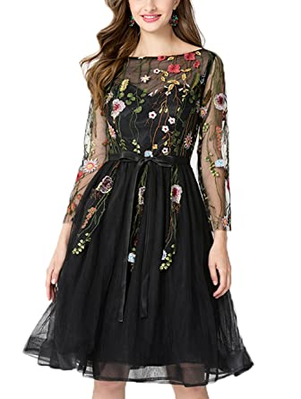 Asoiree Womens Embroidered Lace Floral Homecoming Dresses with Long Sleeves Knee Length A-line Prom Gowns at Amazon Womens Clothing store: