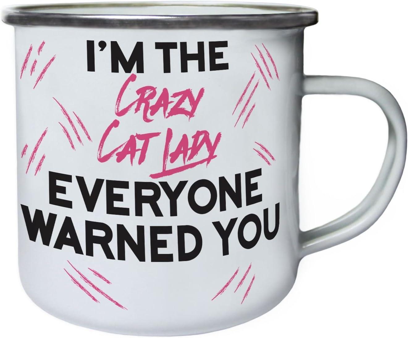 Soy la loca señora del gato que todos te advertí Retro, lata, taza del esmalte 10oz/280ml cc745e: Amazon.es: Hogar