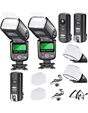 Neewer PRO i-TTL Flash *Deluxe Kit* for NIKON DSLR D7100 D7000 D5300 D5200 D5100 D5000 D3200 D3100 D3300 D90 D800 D700 D300 D300S D610, D600, D4 D3S D3X D3 D200 N90S F5 F6 F100 F90 F90X D4S D SLR Camera- Includes: 2 Neewer Auto-Focus Flash + Wireless Trigger(1 Transmitter, 2 Receivers) +M-Cord & C-Cord Cables + 2 Hard & 2 Soft Flash Diffusers + 2 Lens Cap Holders