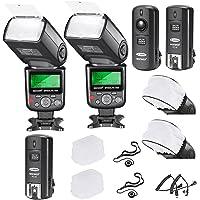 Neewer® Pro i-TTL Flash * Kit de lujo * Para Nikon DSLR D7100D7000D5300D5200D5100D5000D3200D3100D3300D90D800D700D300D300s D610, D600, D4D3S D3X D3D200N90S F5°F6F100°F90°F90X D4S D SLR trampeo, incluye: 2Neewer Flashes de Enfoque Automático + Disparador Inalámbrico (1transmisor, 2receptores) + N1-Cord & N3-Cord Cables + 2duro y 2difusores de Flash suave + 2soportes para tapa de lente