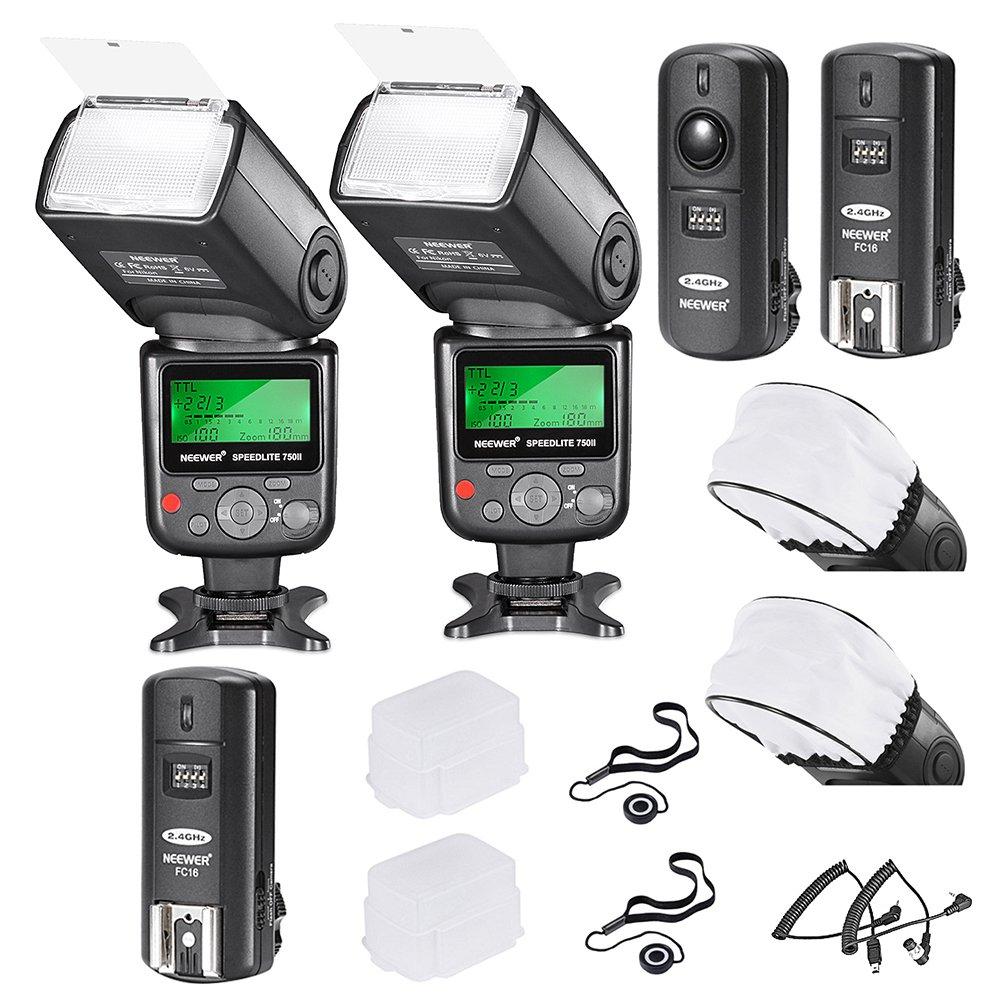 Neewer PRO i-TTL FlashDeluxe Kit for NIKON DSLR D7100 D7000 D5300 D5200 D5100 D5000 D3200 D3100 D3300 D90 D800 D700 D300 D300S D610, D600, D4 D3S D3X D3 D200 N90S F5 F6 F100 F90 F90X D4S D SLR Camera- Includes: 2 Neewer Auto-Focus Flashes + Wireless Trigg
