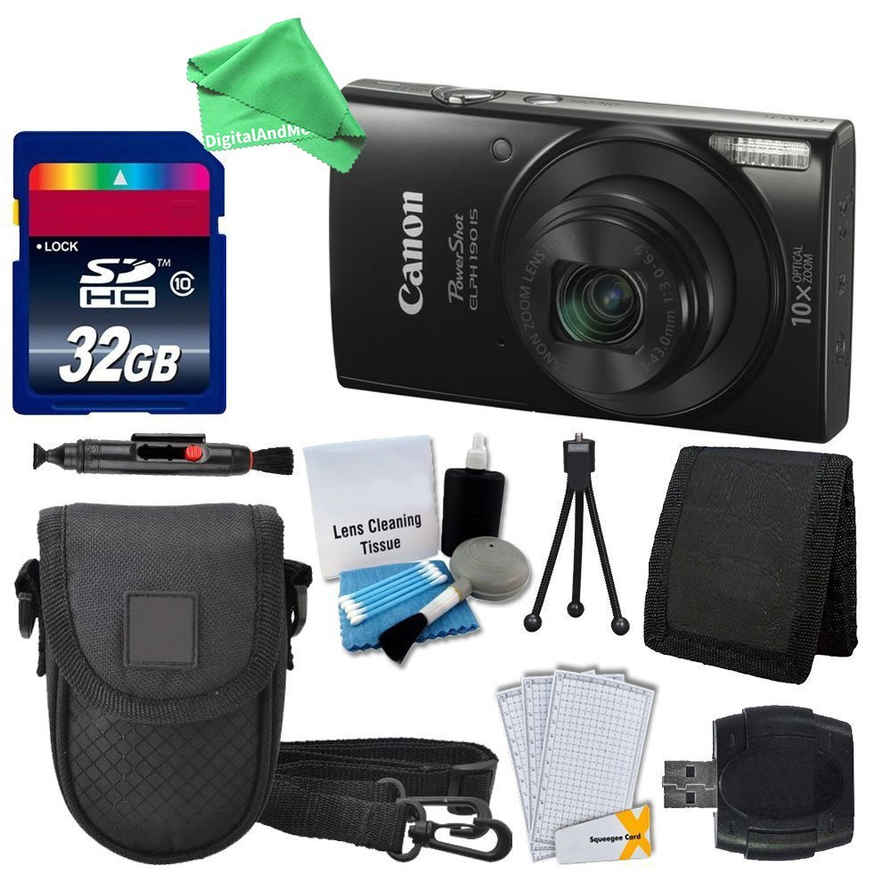 Canon PowerShot ELPH 190 IS Digital Camera (Black) + 32GB Memory Card + Camera Case + USB Card Reader + Screen Protectors + Memory Card Wallet + Cleaning Kit + DigitalAndMore Accessory Bundle