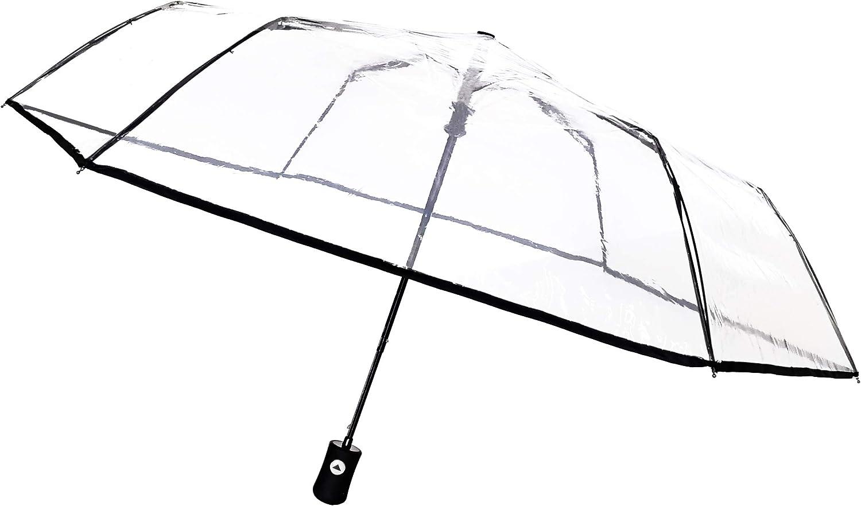SMATI Paraguas Plegable Transparente - automático Antiviento - Muy Sólido