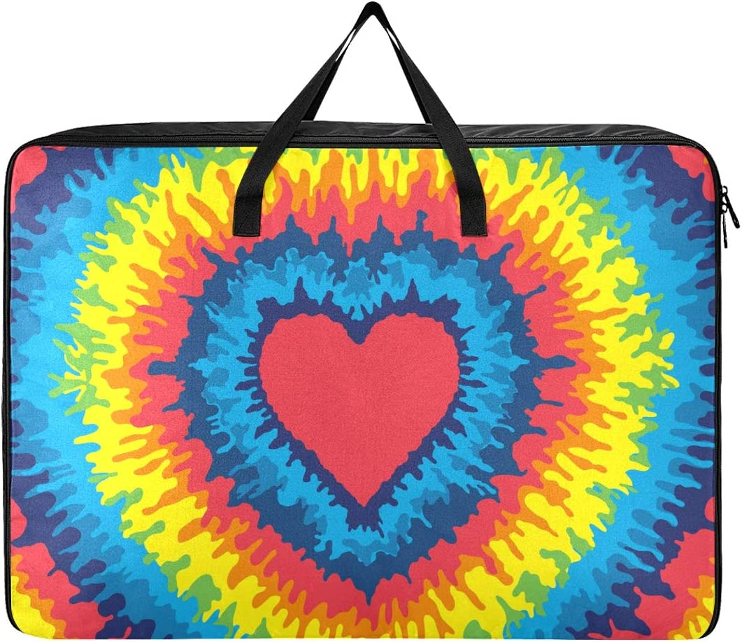 UWSG Large Storage Bag,Organizer Clothes Bag; Laundry Bag Heart Love Rainbow Tie Dye Comforter Quilt Bedspread Pillow Luggage Moving Tote Travel Cargo Duffel Jumbo Bags