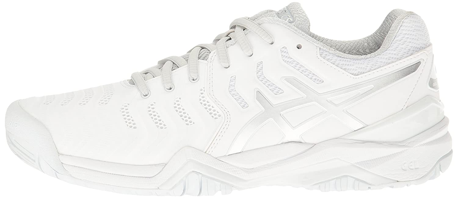 ASICS Women's Gel-Resolution 7 Tennis Shoe B01H32II9W 5 B(M) US|White/Silver