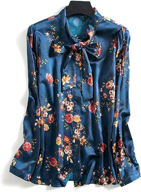 XCXDX Elegante Camisa Azul Marino Estampada para Mujer, Blusa De Manga Larga con Lazo De Seda, Top Casual De Primavera: Amazon.es: Deportes y aire libre