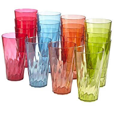 Palmetto 20-ounce Plastic Tumblers | set of 16 in 4 Assorted Colors