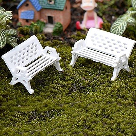 bismarckbeer Kit de jardín de hadas, 2 piezas, miniatura, banco de asiento de parque, casa de muñecas, adorno de jardín de hadas, plástico, Blanco, Small: Amazon.es: Hogar