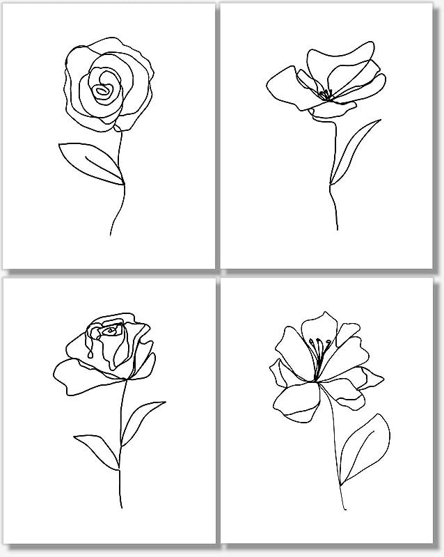 flower florals print flower art wall art Line drawing floral postcards A6 prints postcards