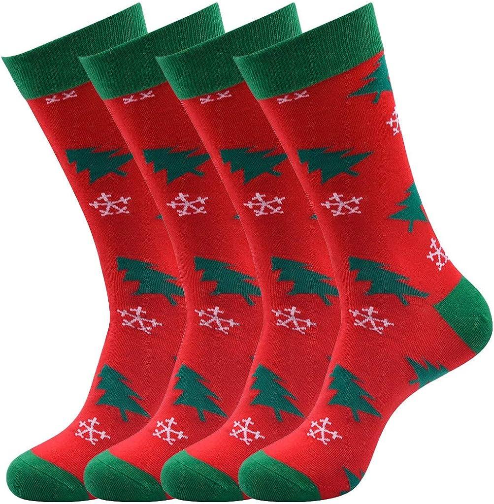 QinMMROPA 4 Pack calcetines divertidos de Navidad unisex mujer hombre Calcetines deportivos con estampado 3D de Navidad Santa deporte rojo 39-44: Amazon.es: Ropa y accesorios