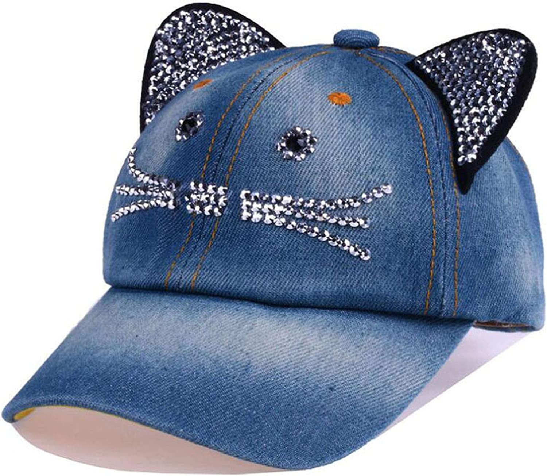 Unisex Baseball Cap Children Cat Ears Rivets Sun Cowboy Hat Snapback Cap for Boy Girls Casual Cap Bone