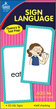 Carson-Dellosa Publishing Sign Language Flash Cards, Two-Sided Cards (6 x 3 Inch), 105 Count (Pack of 1), Age 4 and Up