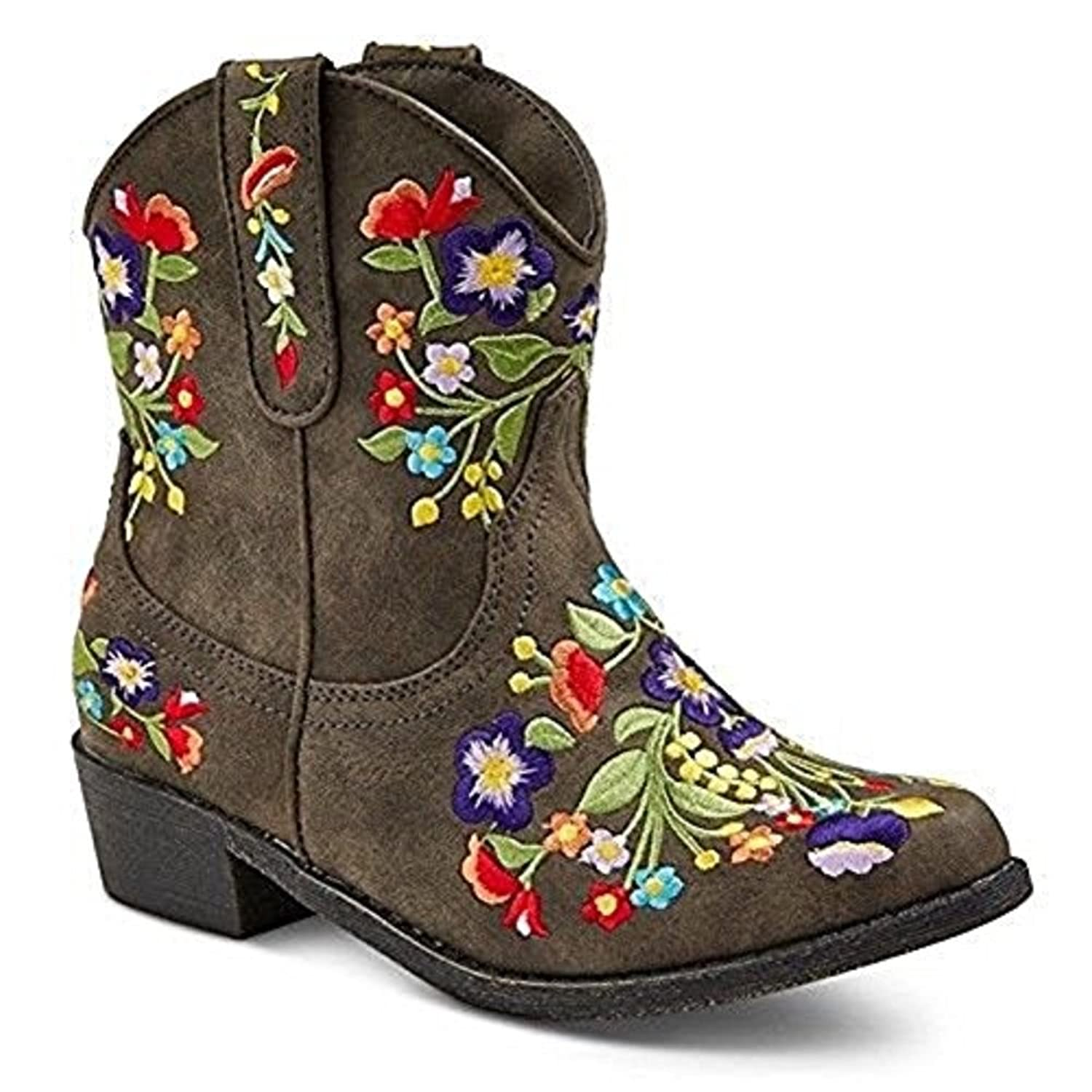 Shyanne Women's Floral Embroidered Western Booties Snip Toe ($75) ❤ liked  on Polyvore featuring shoes, boots, ankle booties, cowboy boots, genuine  leather ...