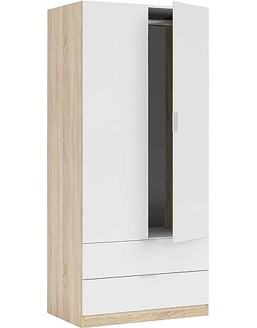 Habitdesign LC1222F - Armario Dos Puertas, Acabado en Color Roble Canadian y Blanco Artik,