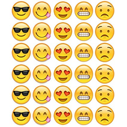 30 Emoji Faces Cupcake Toppers Edible Icing Images 1 5 Inchs In Size Amazon Com Grocery Gourmet Food