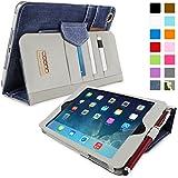 iPad Mini 3 Case, Snugg™ - Executive Smart Cover With Card Slots & Lifetime Guarantee (Blue Denim) for Apple iPad Mini 3 (2014)