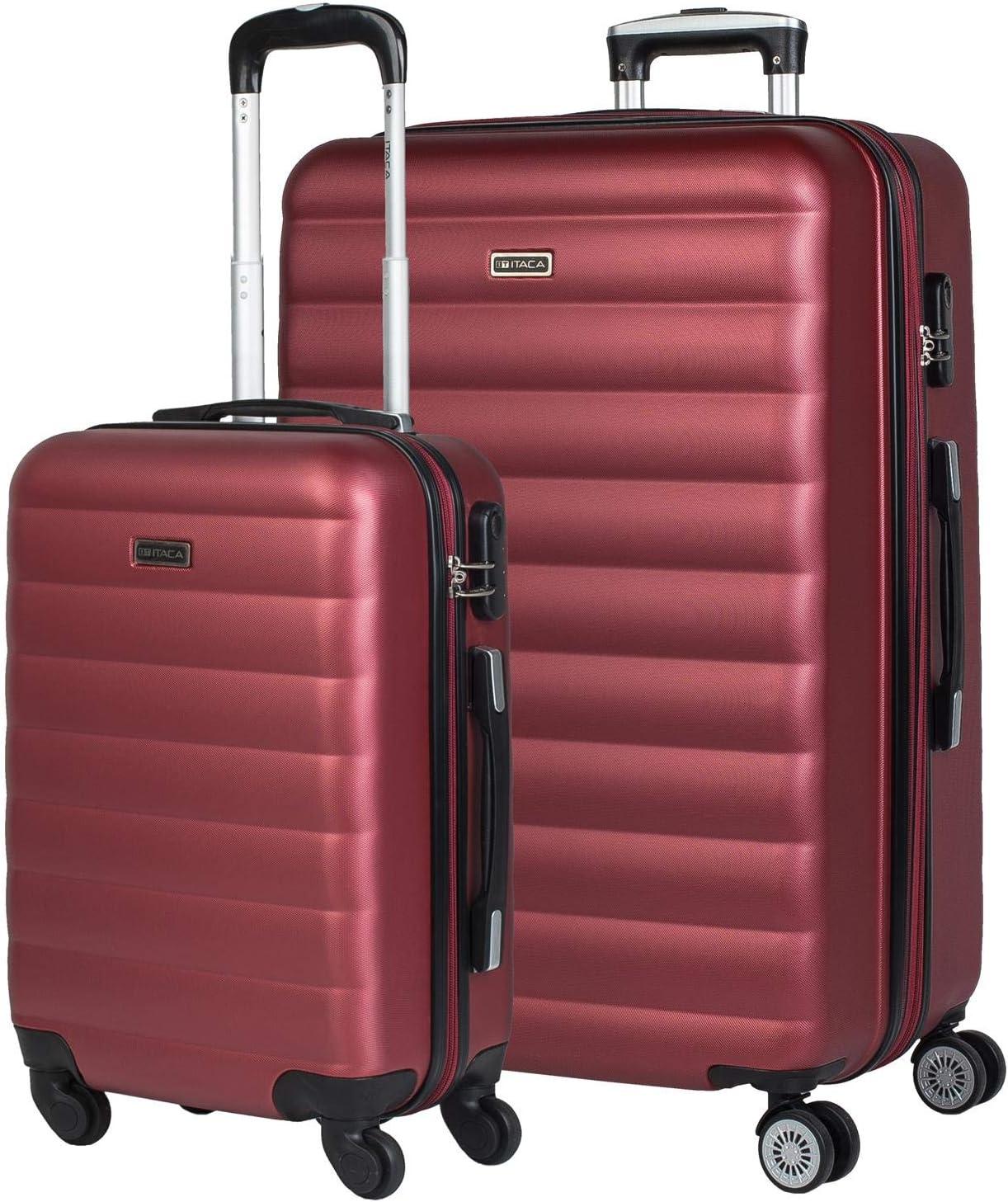 ITACA - Juego de Maletas de Viaje 4 Ruedas Dobles Trolley ABS. 2 Tamaños: Pequeña 55, Grande Extensible 75. Duras Resistentes Rígidas y Ligeras Bonito Diseño. 71217, Color Granate