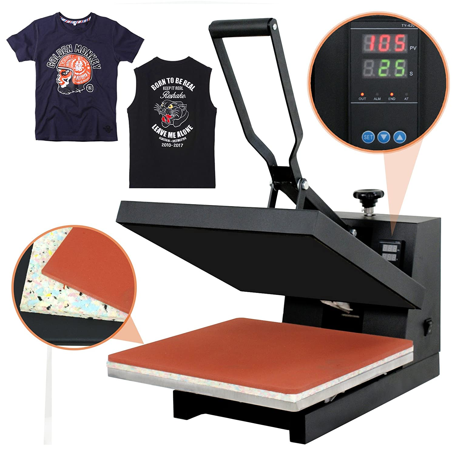 Super Deal PRO 15 X 15 Digital Heat Press Clamshell Sublimation Transfer Machine for T-Shirt
