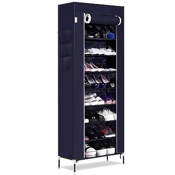 Buyi-World Gabinete de zapatos con 10 estantes, capacidad hasta 27 pares de zapatos