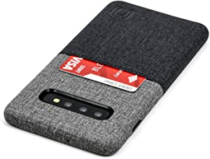 Dockem Luxe N1 Samsung Galaxy S10 Plus Wallet Case: Ultra Slim One Slot Card Case, Synthetic Leather with UltraGrip Twill Canvas Styling [Black & Grey]