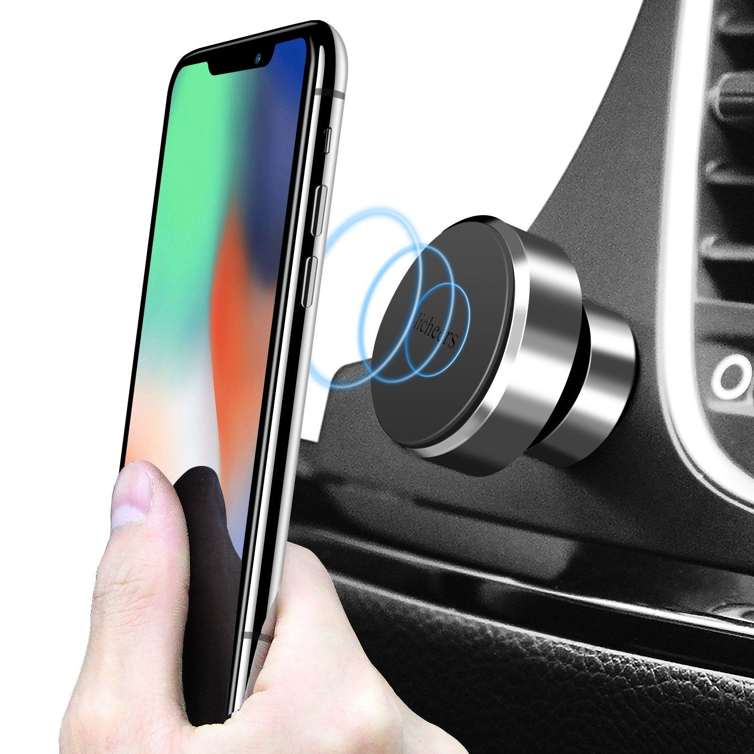 Licheers Magnetic Car Mount Holder, Car Phone Holder 360 Rotation Universal Dashboard Mount Stand for iPhone X, Samsung, Android Smartphones, GPS (Silver)