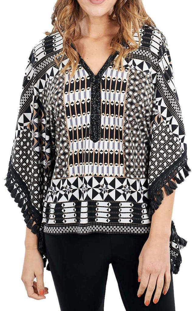 Joseph Ribkoff Multicoloured Abstract Print Poncho Top Style 171740 - Size 16 by Joseph Ribkoff