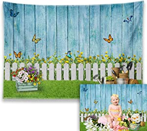 Allenjoy 7x5ft Easter Photography Backdrop Spring Garden Floral Flower Butterfly Fence Grass Blue Wooden Wall Background Birthday Baby Shower Party Decor Supplies Kids Portrait Photo Booth Studio Prop