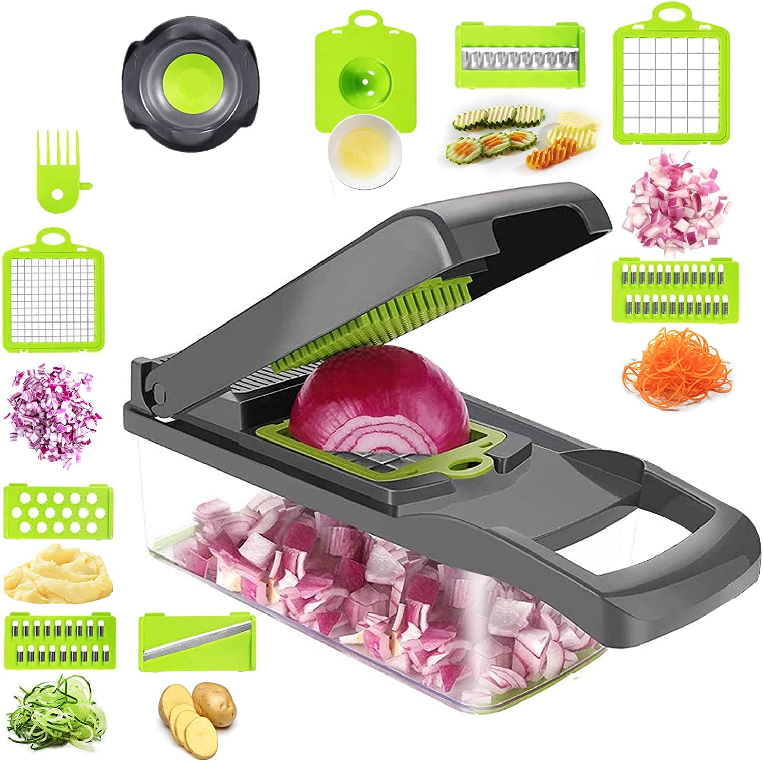Kuanhong Vegetable Chopper, Veggie Slicer, Dicer, Vegetable Cutter, Onion Chopper with Container, Multifunction Pro Food Chopper, Kitchen(8 Blades), with Safety Hand Protection tool and Egg Separator