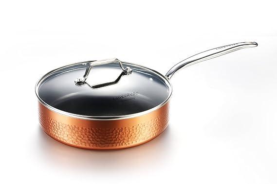 COOKSMARK induccion Juegos de sartenes y ollas bateria de cocina juego ollas cazuela antiadherente de cobre aluminio tapa lavavajillas 10 piezas