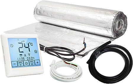 Kit Complet avec Thermostat digital programmable tout r/évetement Plancher chauffant /électrique rayonnant 200 W//m/² 8.0 m/² affichage LCD /écran tactile Garantie 30 ans