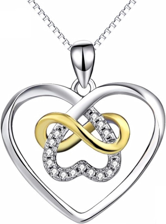 18K WHITE GOLD GF LADIES INFINITY LOVE HEART DESIGN CZ NECKLACE PENDANT GIFT