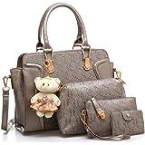 LACIRA Women's Shoulder Bag, Hard Leather, Satchel, Card holder and handbag