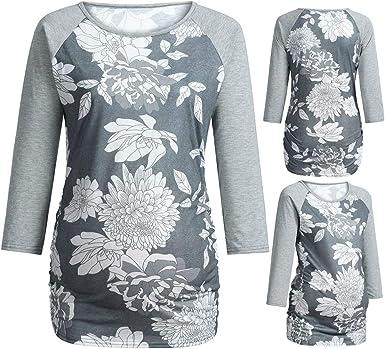 Maternity Floral Print Breastfeeding Hoodie Long Sleeve Pregnant Women Top Shirt