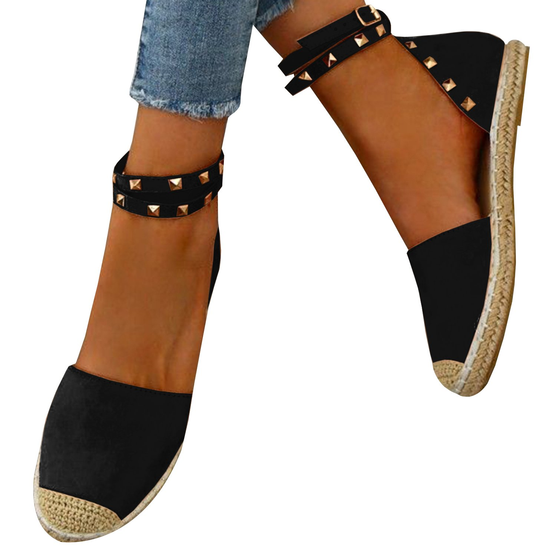 Gemijacka Damen Knouml;chel Schnalle Riemen Espadrilles Ausgeschnitten Binden Niet Klassischen Sommer Flache Sandale Schuhe  43 EU|2-schwarz