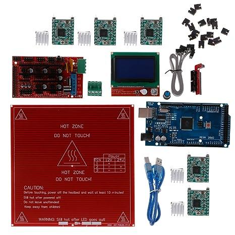 Amazon com: RingBuu Reprap Ramps 1 4 kit + Mega 2560 + Heatbed mk2b