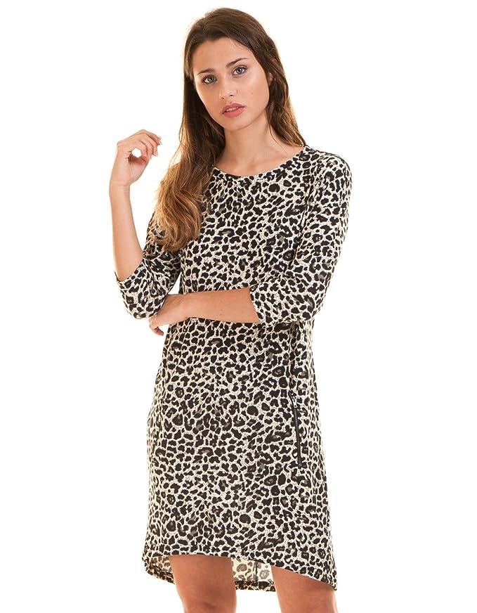 4f4f00545 ICHI Vestido Corto Leopardo Blanco Negro (S - Leopardo)  Amazon.es  Ropa y  accesorios