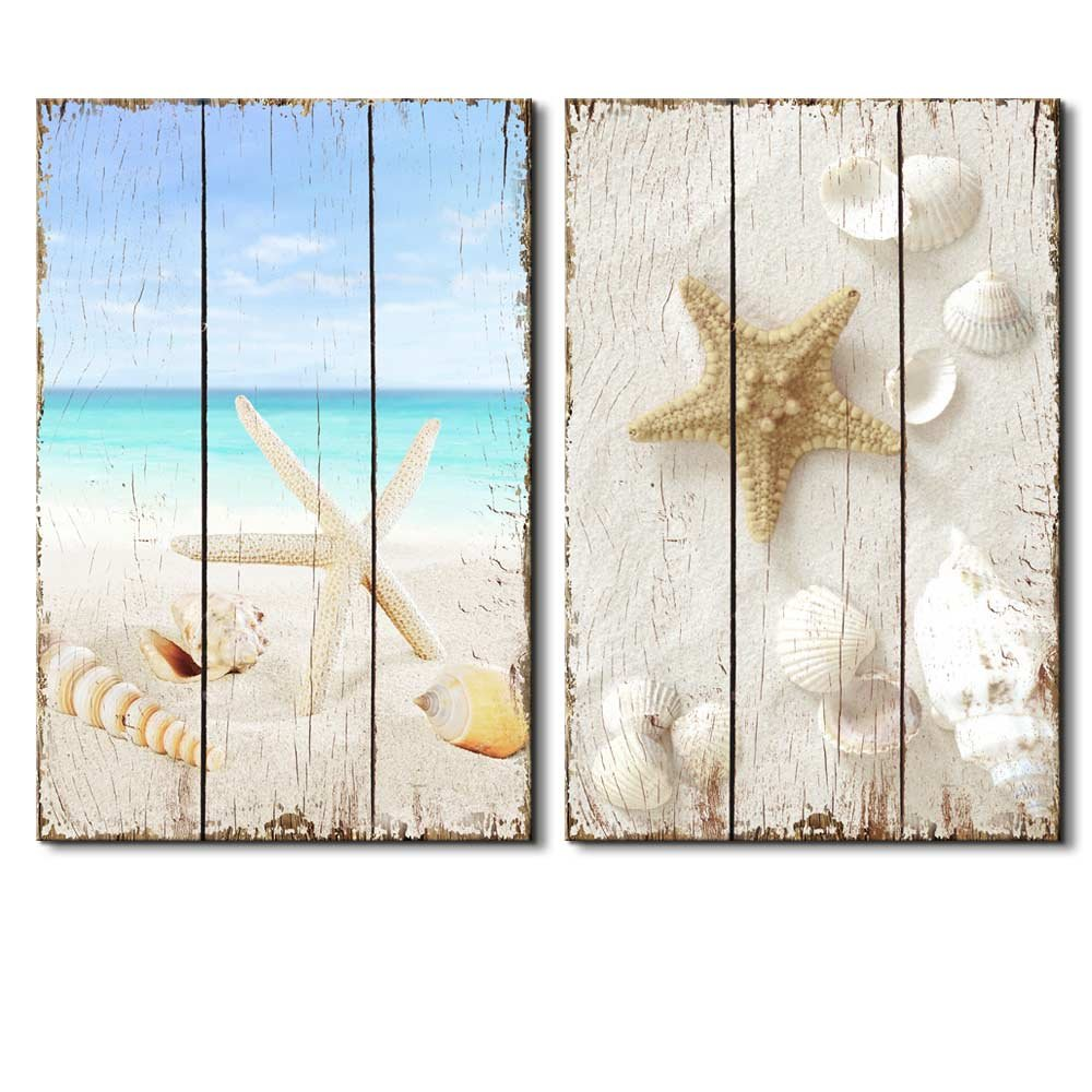 beach scene with sea life on the sand wall decor canvas art wall26. Black Bedroom Furniture Sets. Home Design Ideas