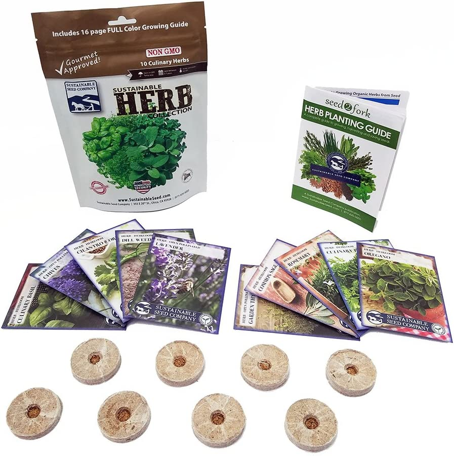 Culinary Herb Seeds Outdoor & Indoor Herb Garden Kit - 10 Herb Garden Seeds for Planting & 8 Instant Soil Pucks - Basil Seeds, Cilantro Seeds, Lavender Seeds, Rosemary Seeds, Thyme Seeds, More