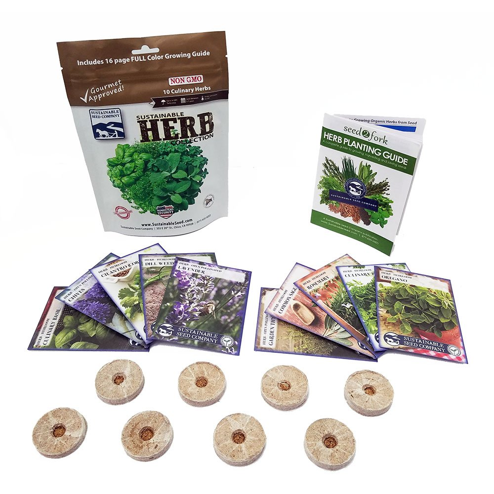 Culinary Herb Seed Collection with Coir Pellets,10 Variety - 100% Non GMO Heirloom Basil, Chives, Cilantro, Dill, Lavender, Oregano, Parsley, Rosemary, Sage and Thyme Herb Seeds by Sustainable Seed Company