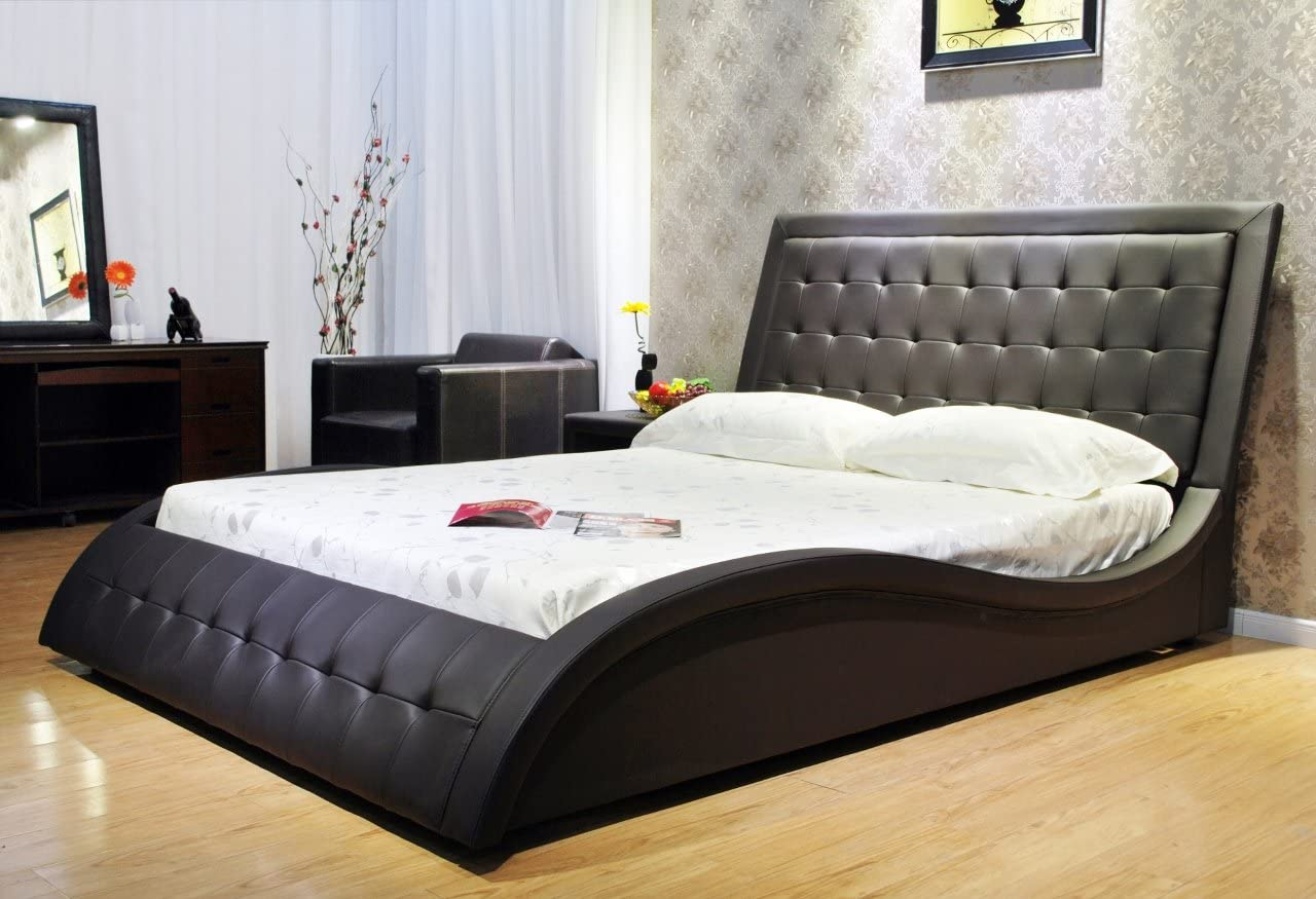 Greatime B1136-2 Eastern King Black Wave-Like Shape Faux Leather Platform Bed