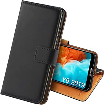GeeRic Cuir Coque Compatible pour Huawei Y6 2019, Premium Flip Portefeuille Housse Étui Housse en Cuir PU Flip Case 6,09