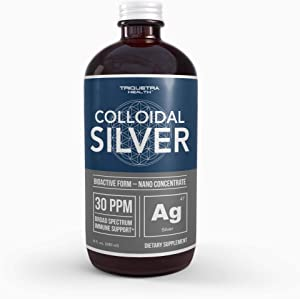 Bioactive Colloidal Silver - 8 oz, Glass Bottle, Vegan | Safe Doses with Highest Effectiveness | Nano Ions, 30 PPM | Immune Support (48 Servings)