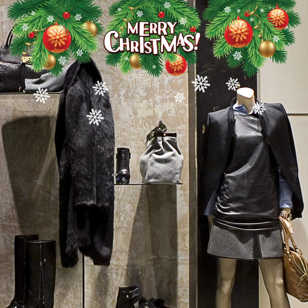 kina UVNT0162 Festone di natale - Misure 3 fogli 45x35 cm - Vetrofanie natalizie su PVC trasparente - Decorazioni adesive da vetrine per natale