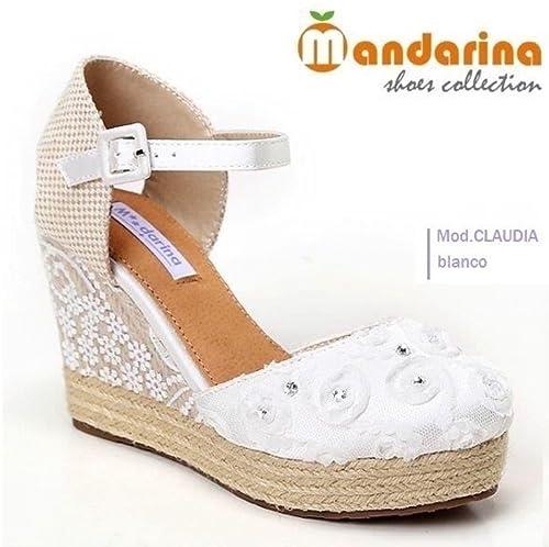 BUONAROTTI ESPARDEÑAS Novia Color Blanco Talla 41: Amazon.es: Zapatos y complementos