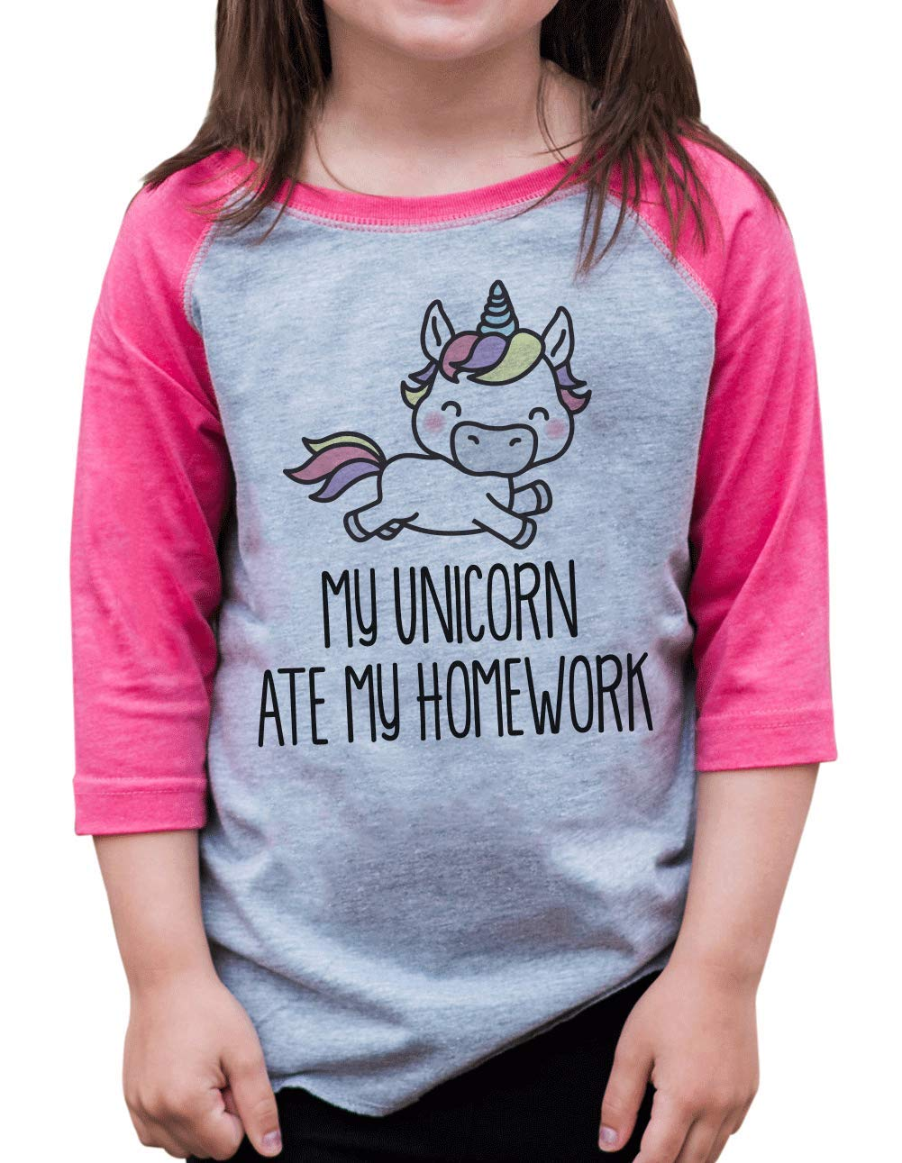 7 ate 9 Apparel Funny Girls Unicorn Ate My Homework School Baseball Tee Pink Small