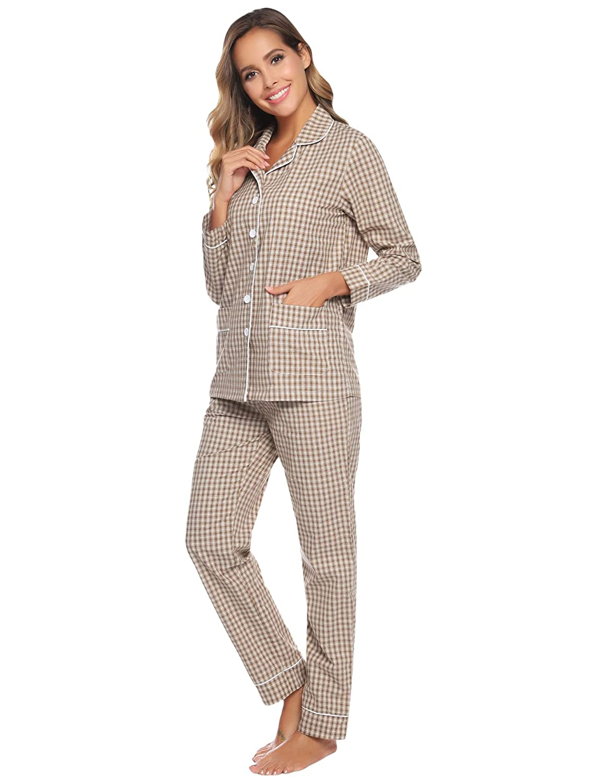 Aibrou Womens Button Down Long Sleeve Pajama Set Cotton Sleepwear Pjs Lounge Set