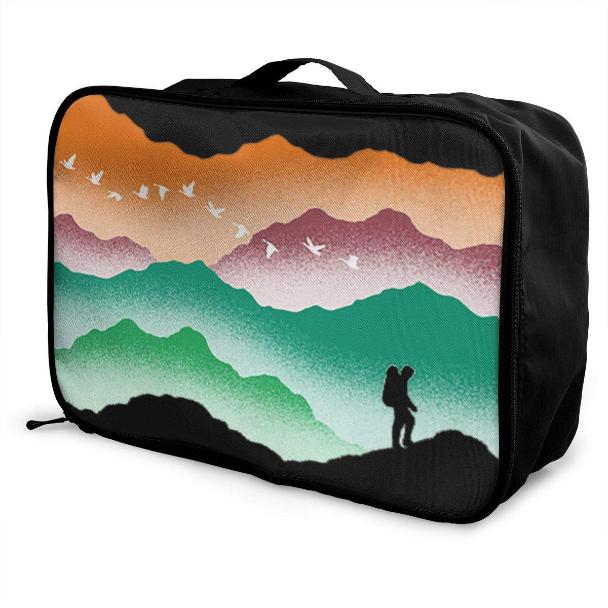 JTRVW Luggage Bags for Travel Portable Luggage Duffel Bag Colorful Mountain Travel Bags Carry-on in Trolley Handle