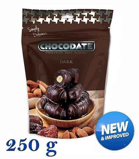 250 g Chocodate - Dátiles de chocolate oscuro con almendras