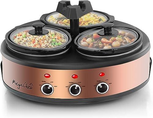MegaChef MC-1103 Round Triple Slow Cooker